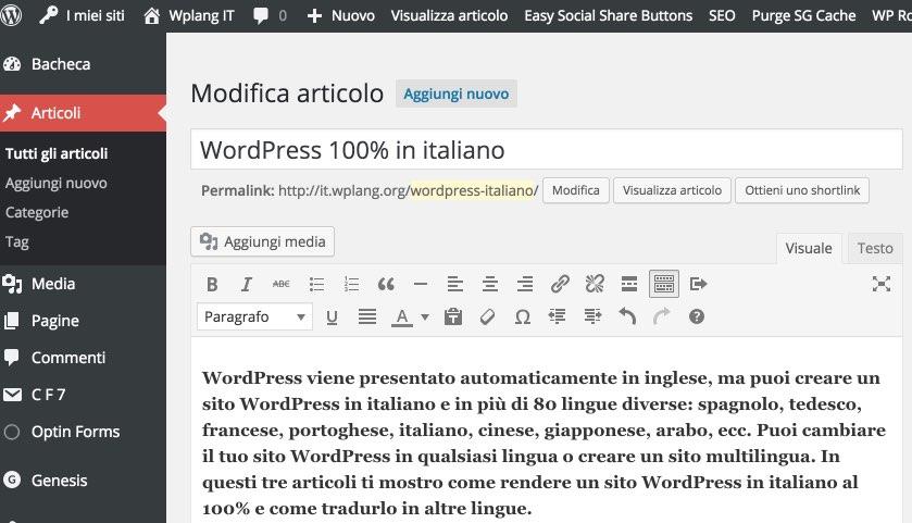 Creare contenuti in italiano